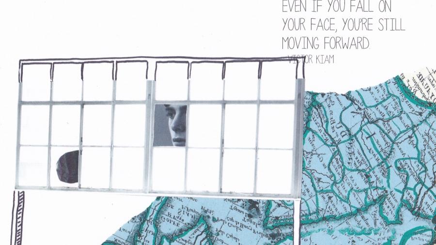 collage atlas en raam met gezicht