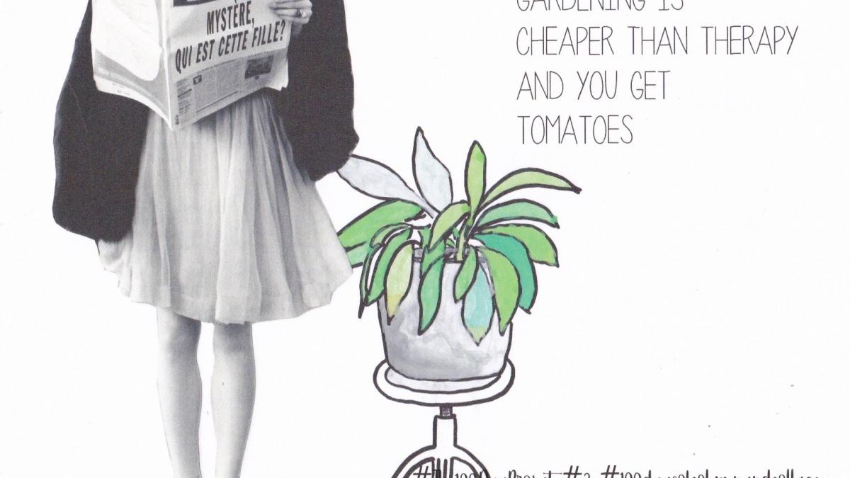 Collage split personality vrouw met plant